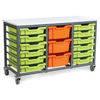 Mobile Metal School Tray Storage