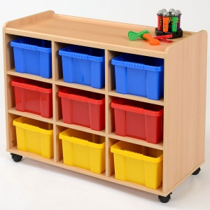 9 Deep Coloured Tray Classroom Storage