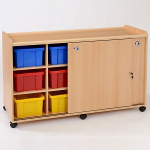 12 Deep Coloured Tray Classroom Storage + Sliding Doors
