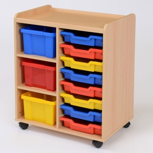 8 Shallow / 3 Deep Coloured Tray Classroom Storage
