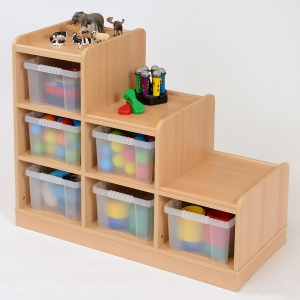 6 Deep Tray Tiered Classroom Storage - Right Hand