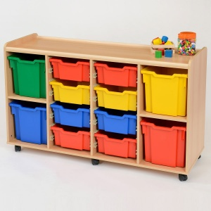 8 Deep / 4 Jumbo Coloured Tray Classroom Storage