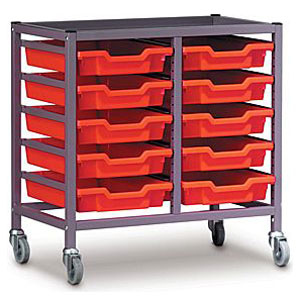 Low 2 Bay Science Storage Trolley - 10 Shallow Trays