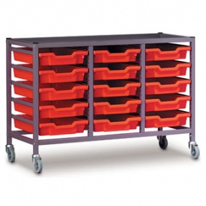 Low 3 Bay Science Storage Trolley - 15 Shallow Trays
