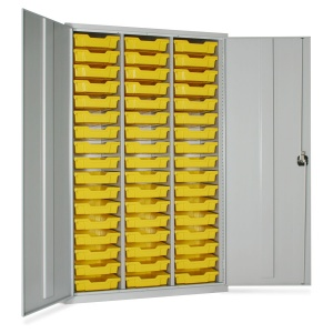 Lockable Metal Cupboard + 51 Trays