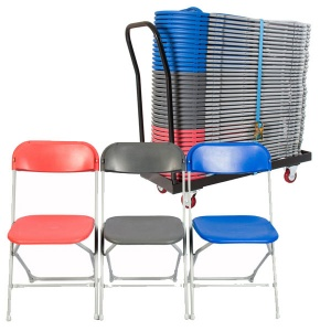 40 zlite® Straight Back Folding Chairs Plus Trolley