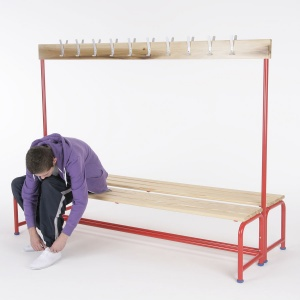 School Changing Room Double Bench + Coatrail
