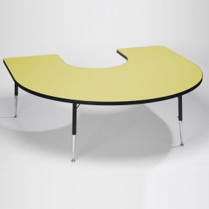 Tuf-Top™ Height Adjustable Horseshoe Table - Yellow
