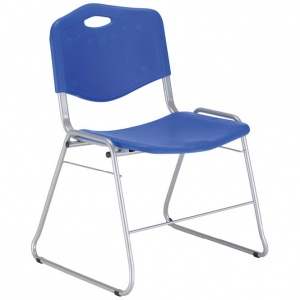 ISO Plastic Chair With Skid Frame