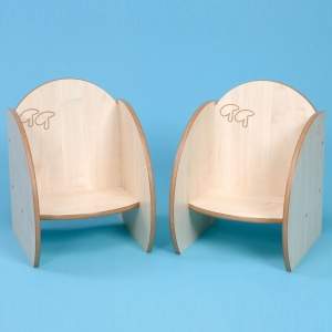 ''Mini'' Children's Wooden Seat 140mm (Pack of 2)