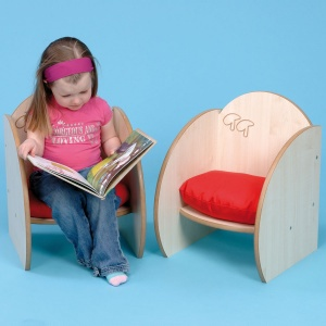 ''Mini'' Children's Wooden Seat 140mm + Cushions (Pack of 2)