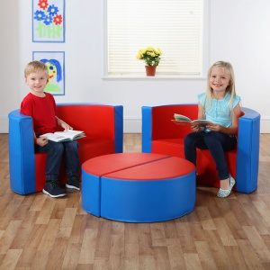 Multi-Seat Classic Island with M-Link™ - Cornflower Blue & Poppy Red