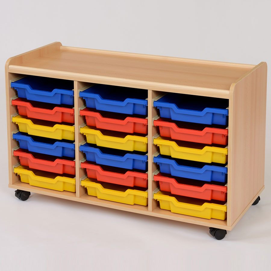 18 shallow tray storage unit for Shallow shelving unit