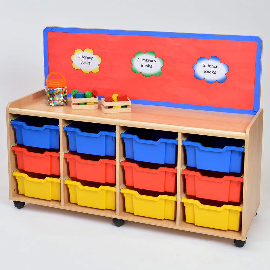 12 Deep Tray Storage Unit with Cork Panel
