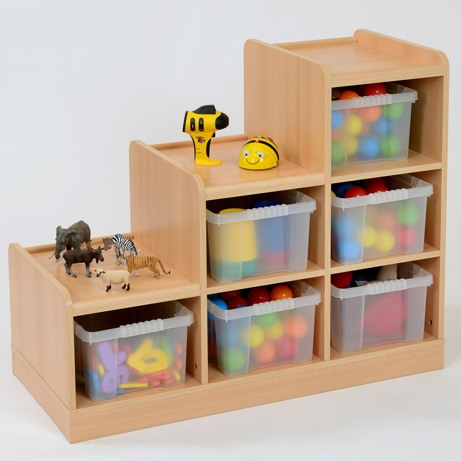 6 Deep Tray Tiered Classroom Storage - Left Hand