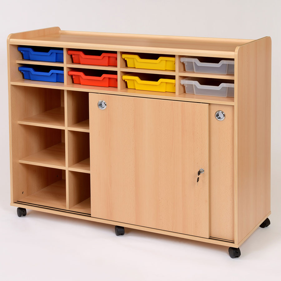 Lockable School Cupboard 8 Shallow Gratnell Trays