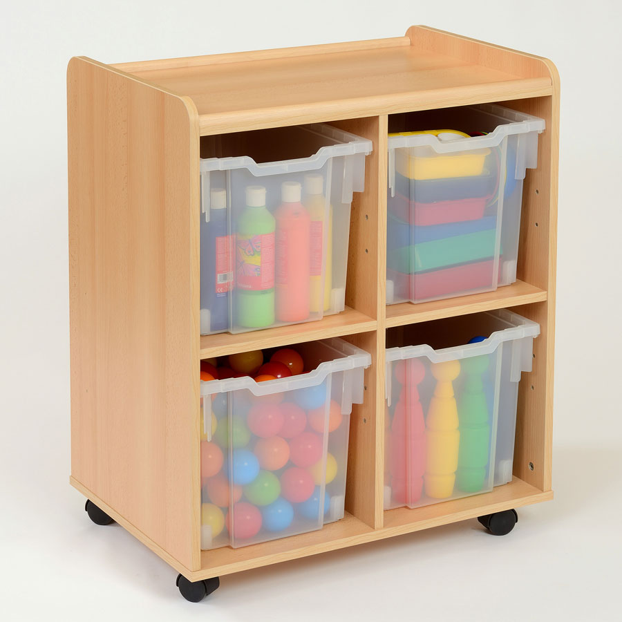 4 Jumbo Clear Tray Classroom Storage