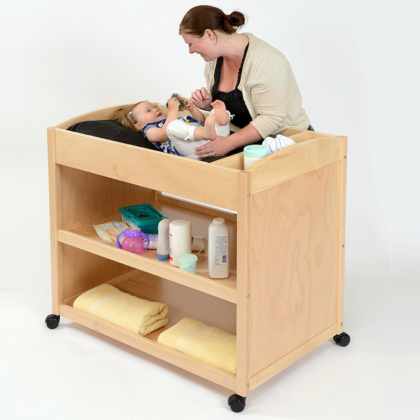 Mobile Wooden Baby Changing Unit