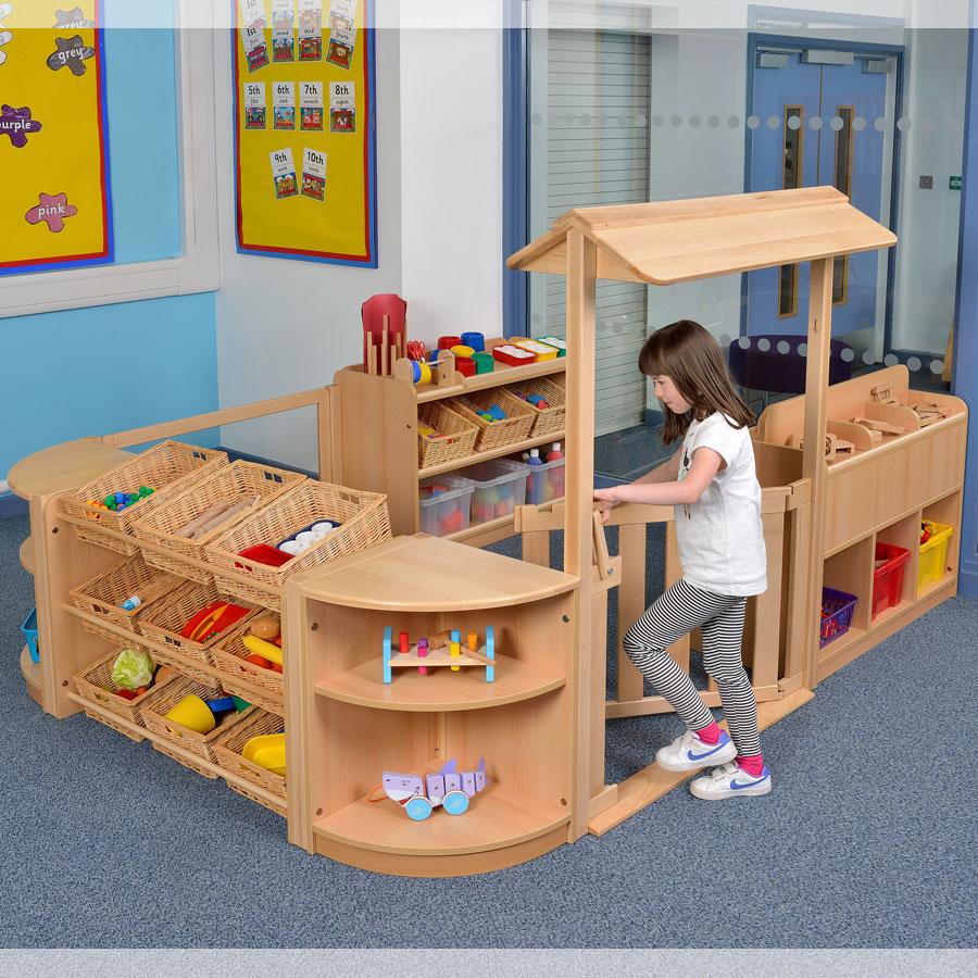 Classroom Furniture Early Years : Room scene children s play storage zone