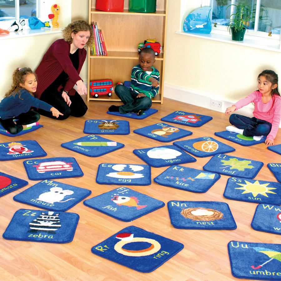 Wholesale Classroom Rugs: Alphabet Mini Placement Carpets