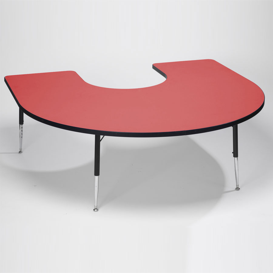 Tuf-Top™ Height Adjustable Horseshoe Table - Red