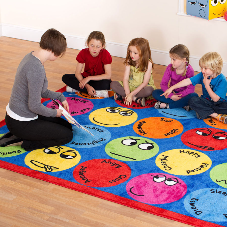 Discount Classroom Rugs: Emotions™ Interactive Rectangular Placement Carpet