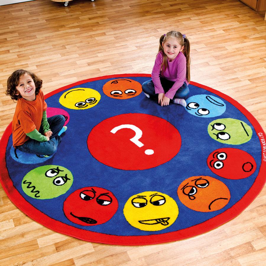 Wholesale Classroom Rugs: Emotions™ Faces Interactive Circular Carpet