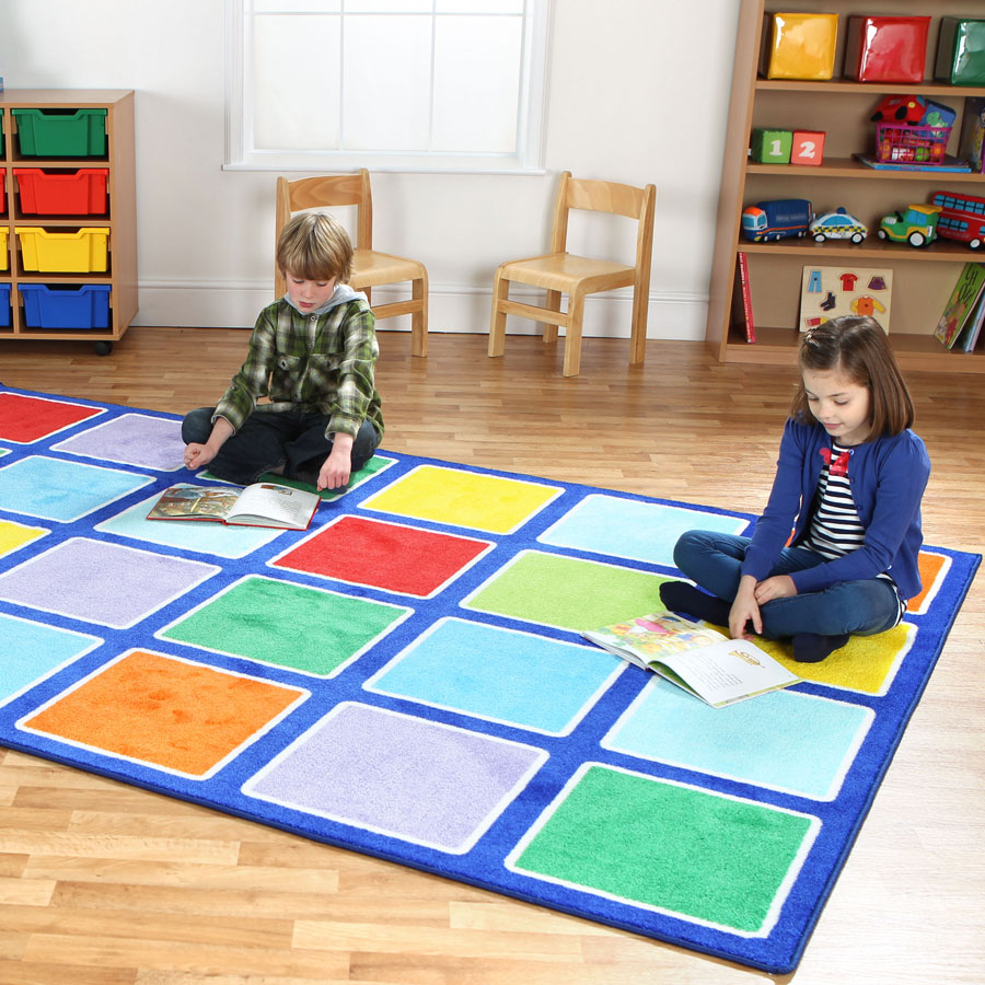 Carpets For Classrooms For Toddlers: Rainbow™ Rectangle Placement Carpet