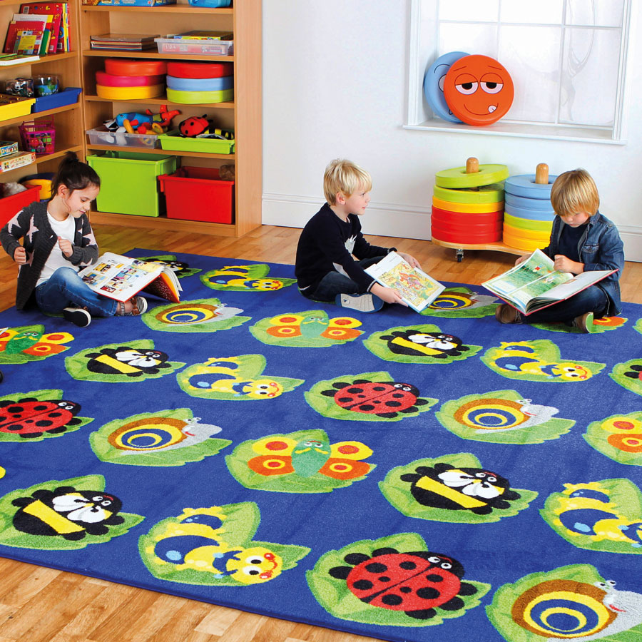 Back to naturetm square bug placement carpet for Classroom rug