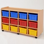 12 Deep Coloured Tray Classroom Storage