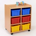 6 Deep Coloured Tray Classroom Storage
