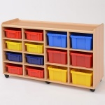 8 Shallow / 6 Deep Coloured Tray Classroom Storage
