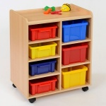 4 Shallow / 3 Deep Coloured Tray Classroom Storage