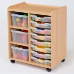 8 Shallow / 3 Deep Clear Tray Classroom Storage