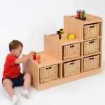 6 Deep Wicker Basket Tiered Classroom Storage - Left Hand