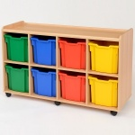 8 Jumbo Coloured Tray Classroom Storage