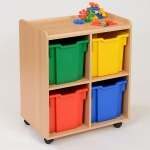 4 Jumbo Coloured Tray Classroom Storage
