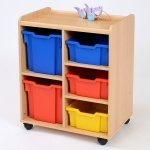 3 Deep / 2 Jumbo Coloured Tray Classroom Storage