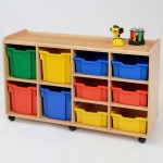 6 Deep / 4 Jumbo Coloured Tray Classroom Storage