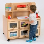 Double Sided Nursery Resource Unit + Doors, Storage / Mirror