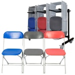 60 zlite® Straight Back Folding Chairs Plus Trolley
