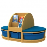 ''Curve'' Book Seat Storage + Island (1 Tray High)