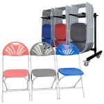 60 zlite® Fan Back (Linking) Folding Chairs Plus Trolley