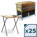 25 Folding Exam Desk + Trolley Package