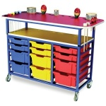 EF6002 Multi-Purpose Music Trolley with 6 Shallow & 6 Deep Trays