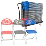 40 zlite® Fan Back (Linking) Folding Chairs Plus Trolley