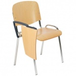 ISO Wood TE Chrome Chair With Writing Tablet