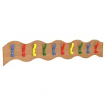 10 Coat Hook Wavy Rail - Multicoloured