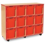 12 Jumbo Red Tray Store with Red Edging