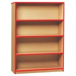 Open Bookcase with 3 Shelves & Red Edging (1250H)
